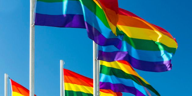 Rainbow flags in the wind. The rainbow flag, sometimes called 'the freedom flag', is commonly used as...