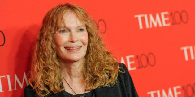 FILE - In this April 21, 2015 file photo, Mia Farrow attends the TIME 100 Gala in New York. Farrow took some Twitter heat Wednesday, July 29, for joining other angry social media posters and blasting out the business address of the dentist who killed the beloved lion Cecil in Zimbabwe. (Photo by Evan Agostini/Invision/AP, File)