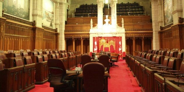 Red Senate Chamber of the Canadian Parliament - Parliament Hill, Ottawa, Canada. See more in my