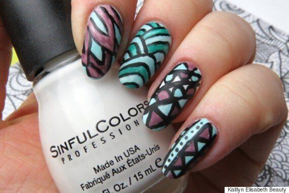 An Adult Colouring Book-Inspired Nail Art