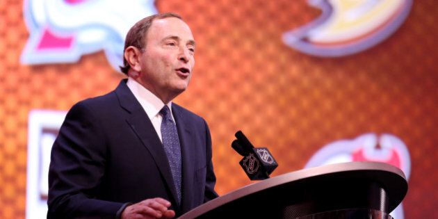 PHILADELPHIA, PA - JUNE 27: NHL Commissioner Gary Bettman speaks during the first round of the 2014 NHL...