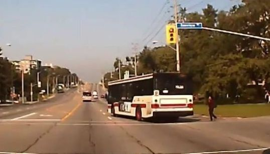 Toronto Bus Has A Close Call After Running A