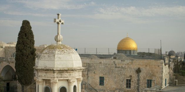 Jerusalem - Mosque Dome of the Rock and Cross Franciscan Dome, Islamic in front of Christianity.