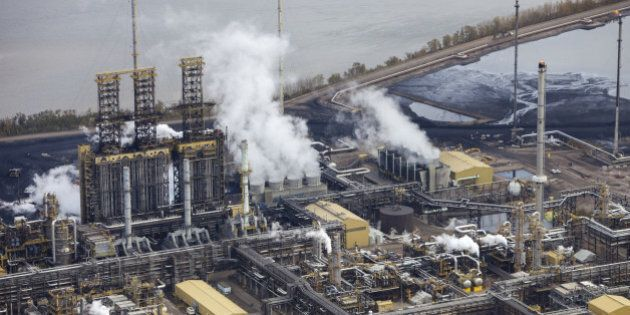 Close-up aerial photo of an oil refinery in the Alberta Oilsands, near Fort