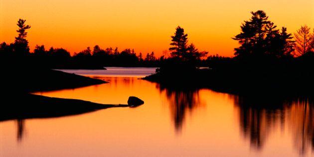 Sunset over Beausoleil Island Georgian Bay Islands National Park, Ontario,