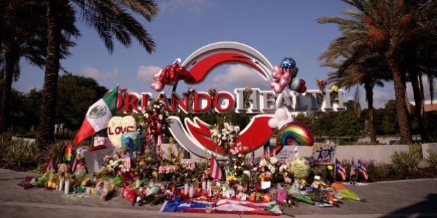 ORLANDO, FL - JUNE 15: A makeshift memorial for the victims of the Pulse Nightclub shooting, near Orlando...