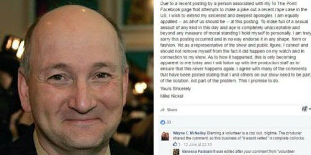 Edmonton Councillor Mike Nickel Apologizes For Rape Joke Posted By His Talk