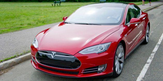 BOSTON, MA - JUNE 06: The Model S electric sports sports sedan on June 6, 2013 in Boston, Massachusetts....