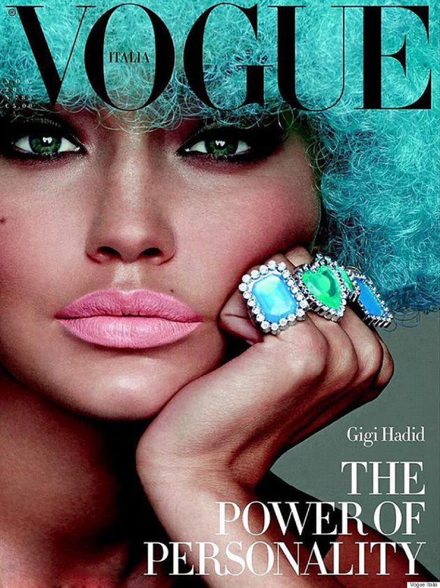 Gigi Hadid Rocks A Blue Wig On The Cover Of Vogue