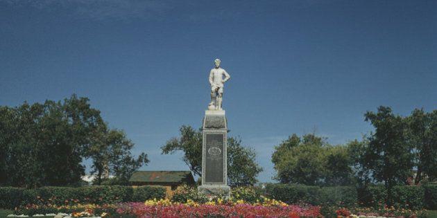 A statue of Sergeant Hugh Cairns VC DCM atop the Footballer's Memorial erected by the Saskatoon Football...