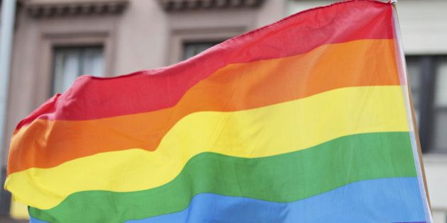 Rainbow flag symbolizing and celebrating gay rights and freedom of