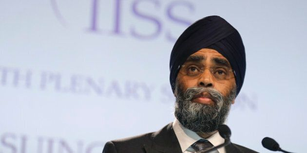 Canada's Minister of National Defense Harjit Sajjan delivers his speech