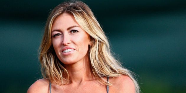 LAHAINA, HI - JANUARY 03: Paulina Gretzky watches the play of Dustin Johnson during round one of the...
