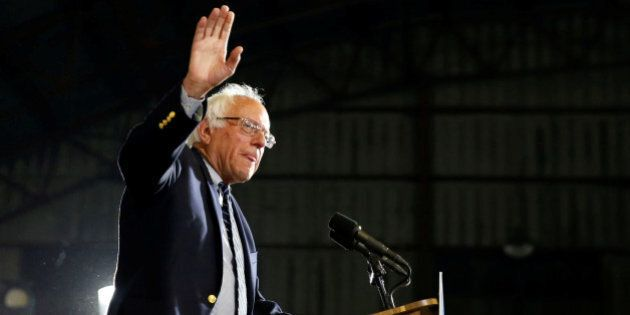 U.S. Democratic presidential candidate Bernie Sanders addresses supporters following the closing of the...