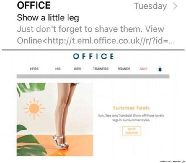 Shoe Brand, Office, Tells Women To Shave Their Legs In Promotional
