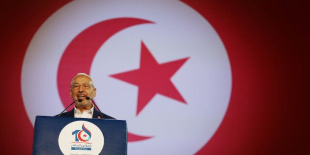 Rached Ghannouchi, leader of the Islamist Ennahda movement, speaks during the movement's congress in...