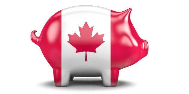3D render of piggy bank with Canadian flag