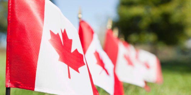 USA, Illinois, Metamora, Canadian flags in