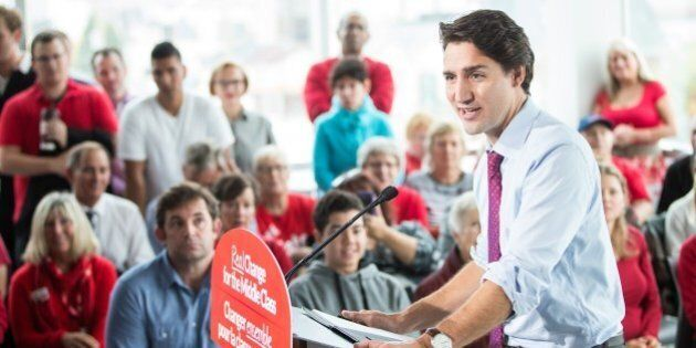 Liberal leader Justin Trudeau speaks at a rally at Goodwill Industries during a campaign stop in London,...