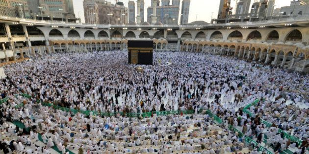 Muslims gather around the Kaaba inside the Grand Mosque during the holy fasting month of Ramadan in Mecca,...