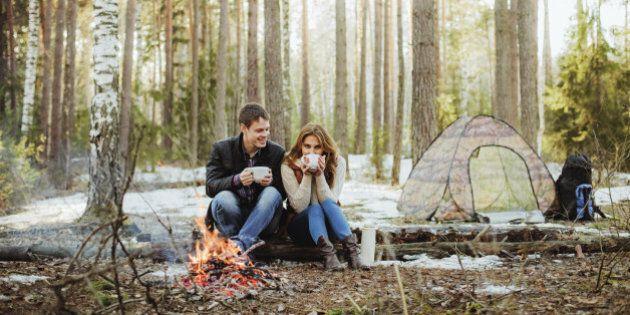 Couple happy outdoors.