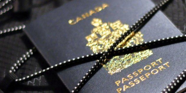 Canadian passport tucked insidebungee cord of backpack