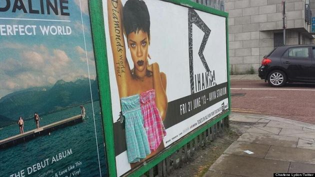 Rihanna Topless Poster Covered Up By Dubliners Who Censor 'Diamonds' Singer With Dresses