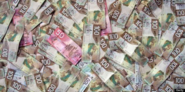 Full-frame of Canadian money or currency. $100 and $50 dollar