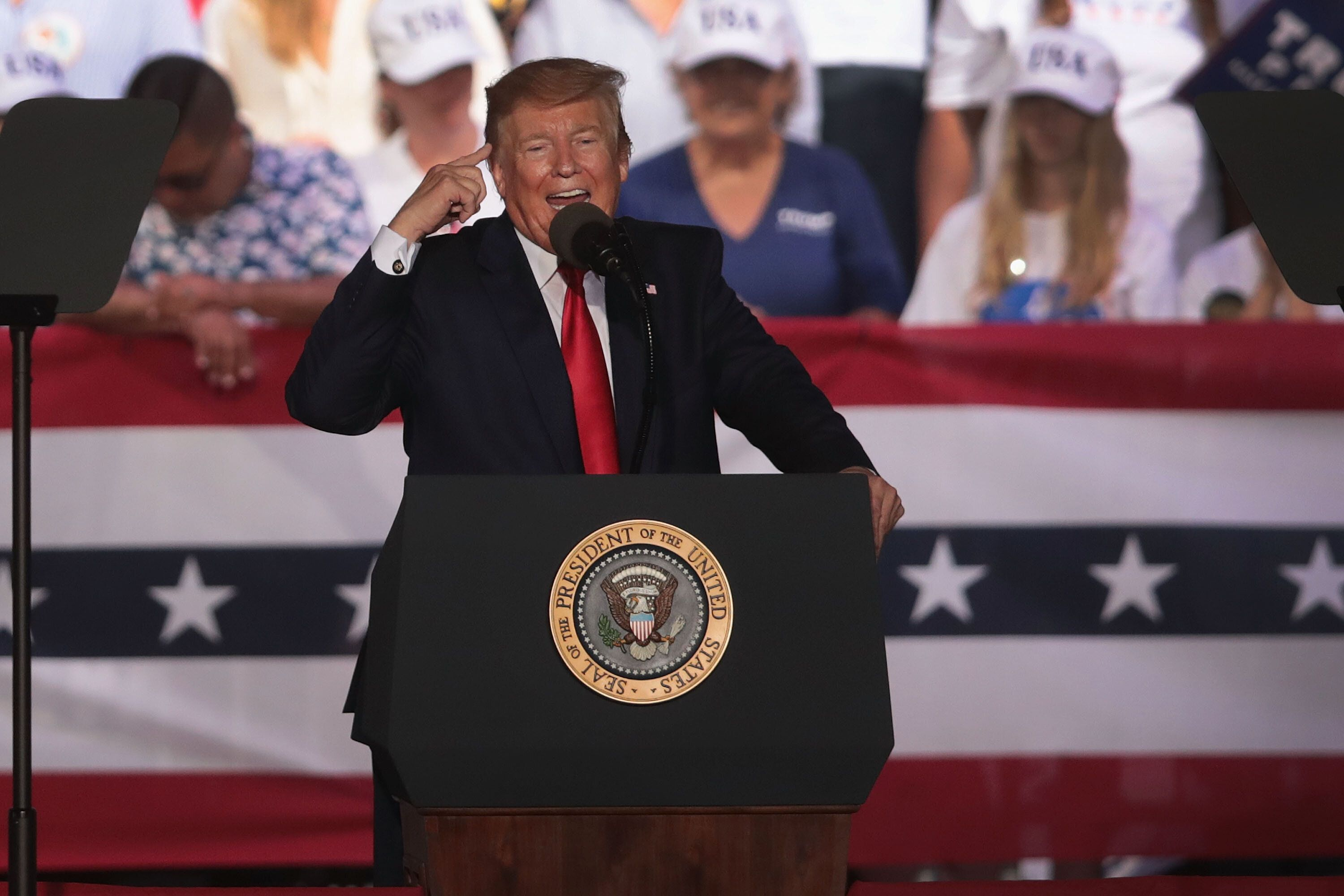 PANAMA CITY BEACH, FLORIDA - MAY 08: U.S. President Donald Trump speaks during a rally at the Aaron Bessant Amphitheater on May 8, 2019 in Panama City Beach, Florida. In his continuing battle with Congress over the release of Robert Mueller's unredacted report, today President Trump asserted executive privilege to block its release from public view. (Photo by Scott Olson/Getty Images)