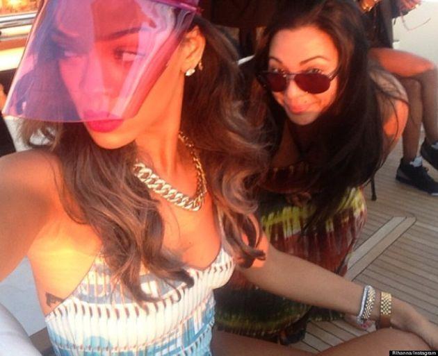 Rihanna Wears Odd Pink Visor, Shows Off Cleavage On Instagram