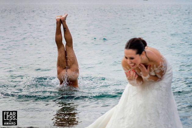 La marié avec besoin de se rafraîchir les idées, on