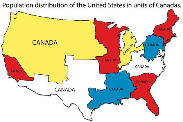 What The U.S. Looks Like In Units Of Canada (PHOTO ...