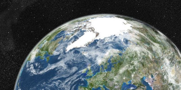 True colour satellite image of the Earth showing Greenland, the North Pole and Europe, with cloud coverage....