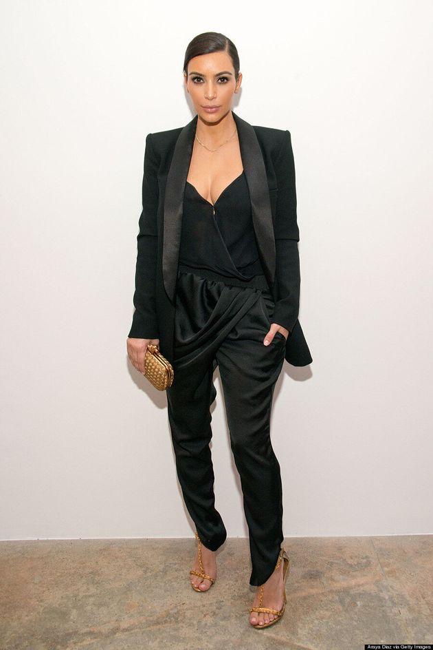 Kim Kardashian Covers (Mostly) Up In Striking