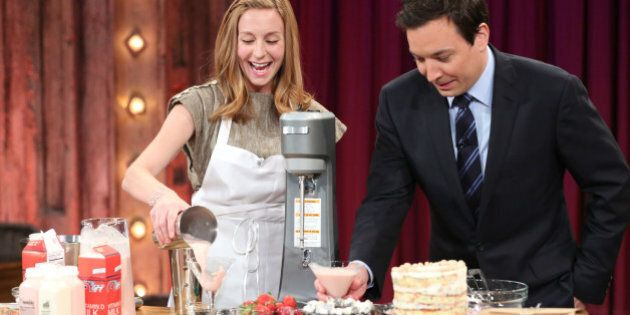 LATE NIGHT WITH JIMMY FALLON -- Episode 781 -- Pictured: (l-r) Christina Tosi with host Jimmy Fallon...