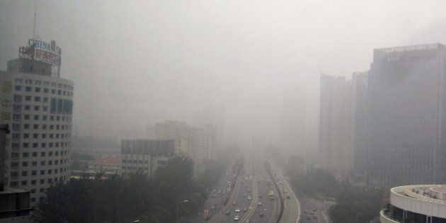 BEIJING, CHINA - OCTOBER 06: (CHINA OUT, SOUTH KOREA OUT) Heavy fog engulfed on October 6, 2013 in Beijing,...
