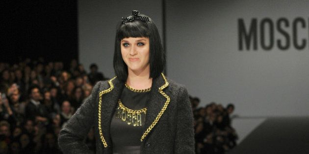 US singer Katy Perry attends the show for fashion house Moschino as part of the Milan's Women's fashion...
