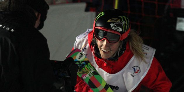 LA PLAGNE, FRANCE - MARCH 20: (FRANCE OUT) Sarah Burke of Canada takes 1st place during the FIS Freestyle...