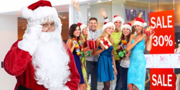 santa claus and group of