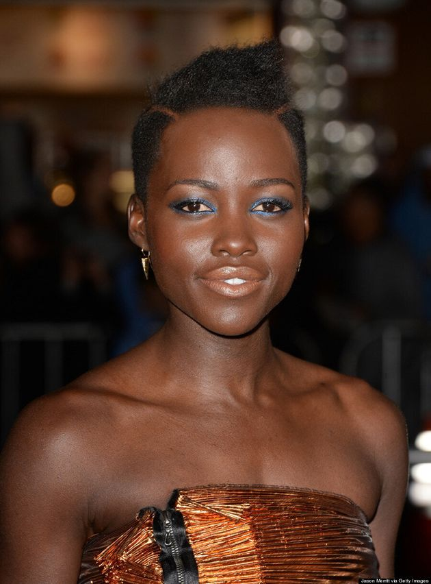 Lupita Nyong'o Rocks Metallic Dress At 'Non-Stop' Premiere