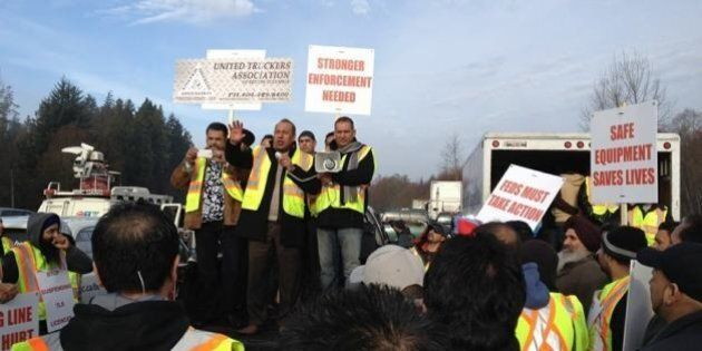 Truckers Protest Port Metro Vancouver Wait Times, Low
