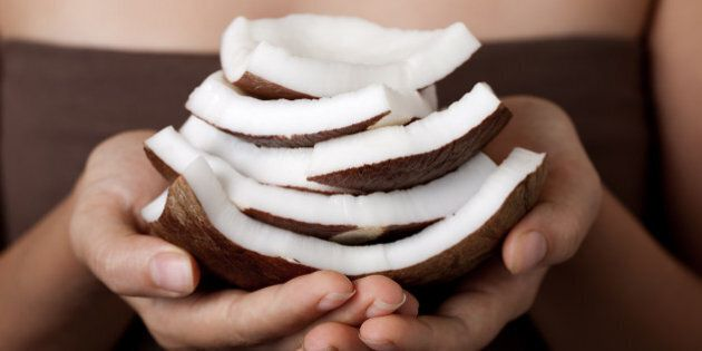 Coconut on hands. SPA