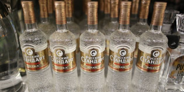 Bottles of Russian Standard vodka, produced by Russian Standard Corp., stand for sale inside a Lenta...