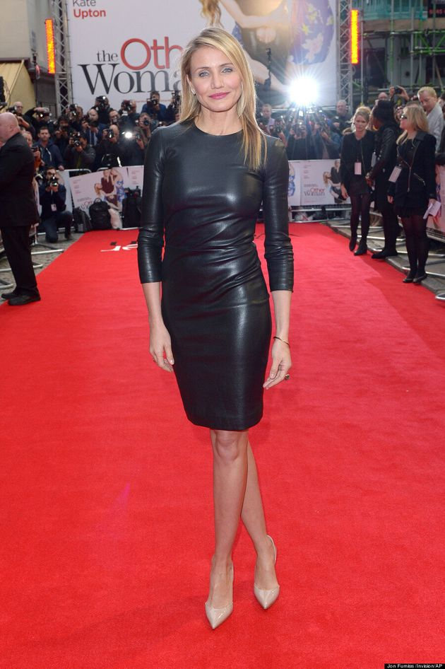 Cameron Diaz Goes For Broke In Sexy Leather Dress At 'The Other Woman'