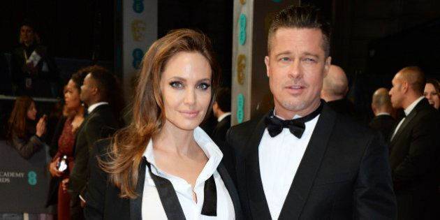 LONDON, ENGLAND - FEBRUARY 16: Angelina Jolie (L) and Brad Pitt attend the EE British Academy Film Awards...