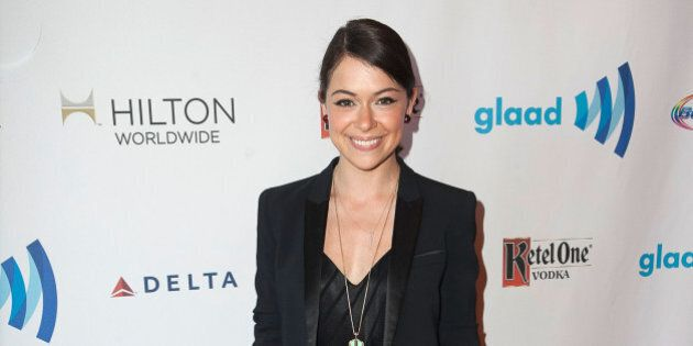 LOS ANGELES, CA - APRIL 12: Tatiana Maslany arrives for the the 25th Annual GLAAD Media Awards - Dinner...