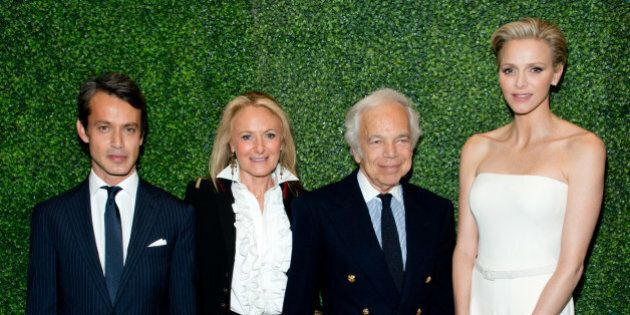 NEW YORK, NY - OCTOBER 28: (L-R) Andrew Lauren, Ricky Lauren, Ralph Lauren and Princess Charlene of Monaco...