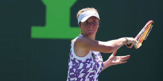 KEY BISCAYNE, FL - MARCH 21: Elina Svitolina of Ukraine in action against Eugenie Bouchard of Canada...