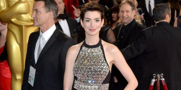HOLLYWOOD, CA - MARCH 02: Actress Anne Hathaway attends the Oscars held at Hollywood & Highland Center...
