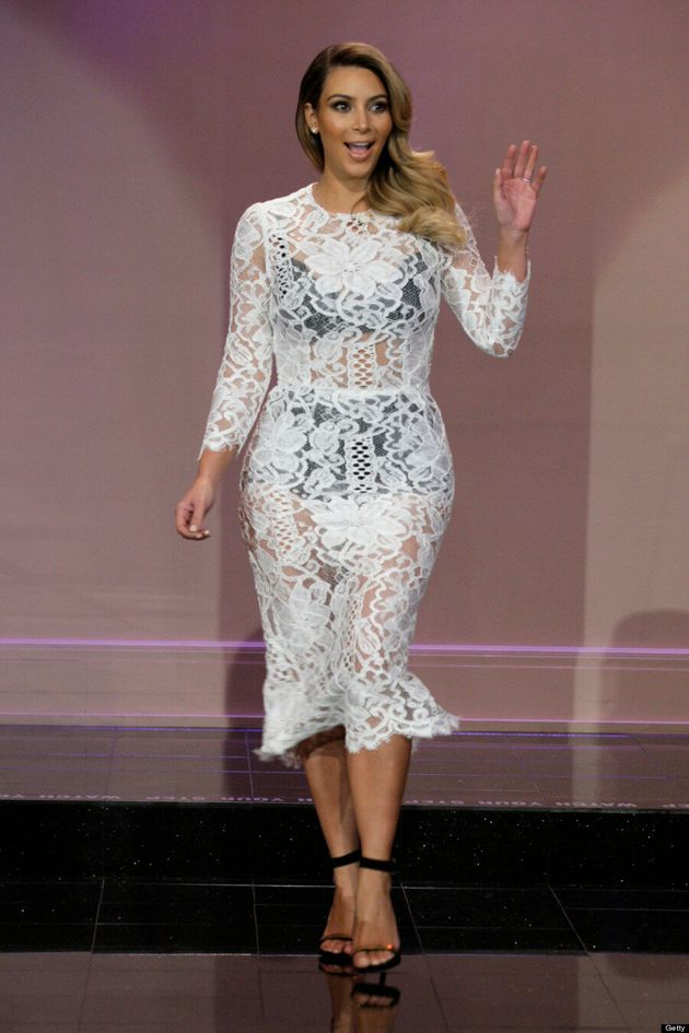 Kim Kardashian Shows Off Post-Baby Body In See-Through Lace Dress on Jay Leno (VIDEO,